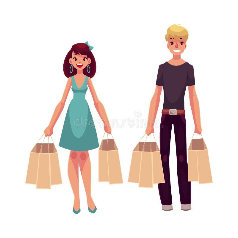 Młody człowiek i kobieta, para, przyjaciele z torba na zakupy ilustracja wektor