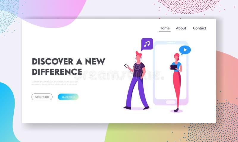 Młody Człowiek i kobiety Chodzi z gadżet strony internetowej lądowania stroną, młodzi ludzie Używa Mobilnych Smartphones dla Text ilustracja wektor