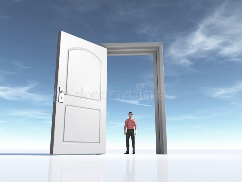Młody człowiek i otwarte drzwi ilustracji
