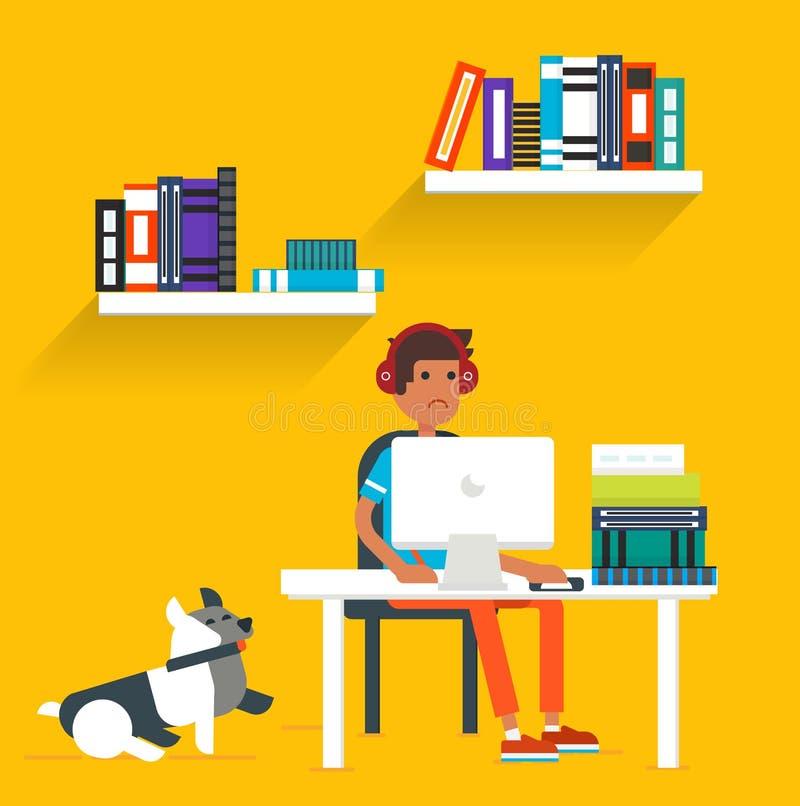Młody człowiek i pies ilustracji