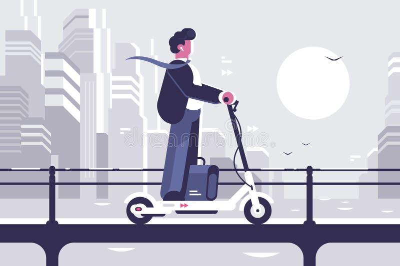 Młody człowiek jedzie elektrycznej hulajnoga nowożytnego pejzaż miejskiego ilustracji