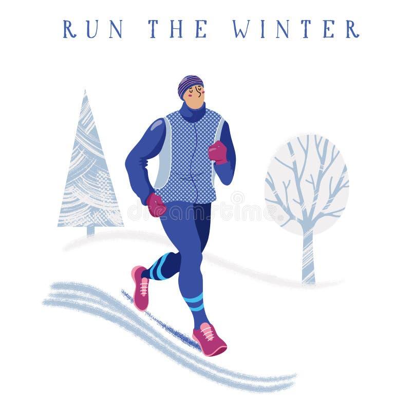 Młody człowiek jogging w parku, zima działający sztandar ilustracja wektor
