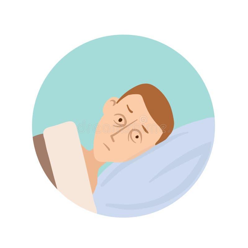Młody człowiek kłama w łóżku z jego oczami otwartymi Sen nieład, bezsenności round ikona Wektorowa płaska ilustracja, odizolowywa ilustracja wektor