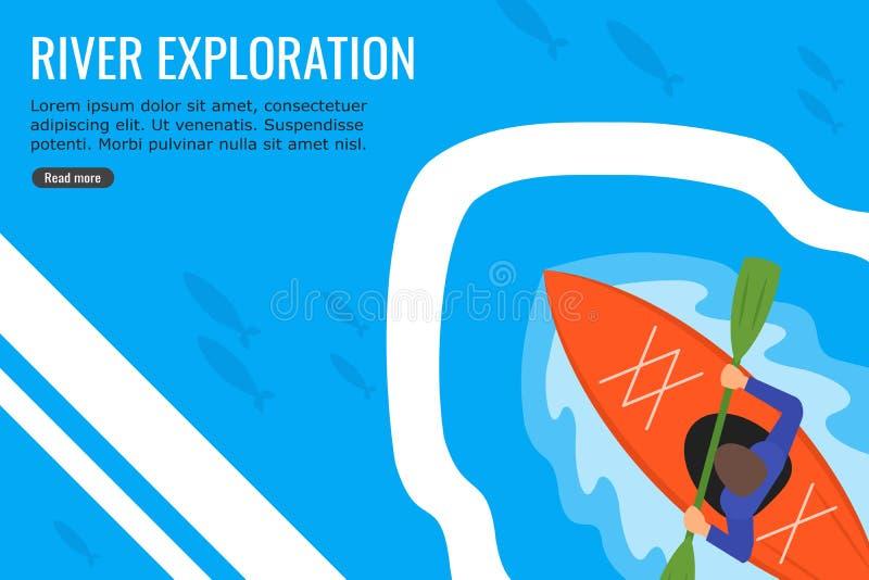 Młody człowiek Kayaking w rzece Rybi Płaski projekt Pełno royalty ilustracja