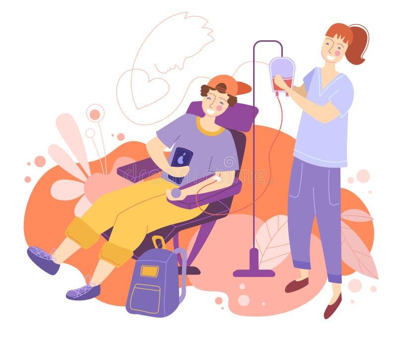 Młody człowiek otrzymywa krwionośnego przetaczanie w szpitalu lub klinice uczęszczał uśmiechnięta życzliwa pielęgniarka w kolorow royalty ilustracja