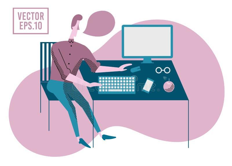 Młody człowiek pracuje na komputerowym programiście, biznesowa analiza, royalty ilustracja