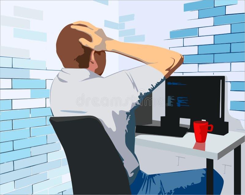 Młody człowiek pracuje z jego komputerem w biurze ilustracji