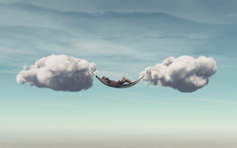 Młody człowiek relaksuje w hamaku ilustracja wektor