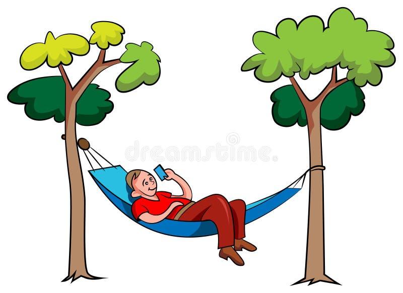 Młody człowiek relaksuje w hamaku w parku ilustracja wektor