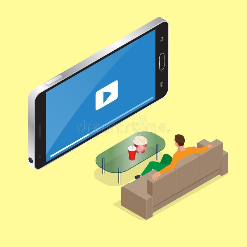 Młody człowiek sadzający na leżance ogląda tv Płaska 3d Wektorowa isometric ilustracja royalty ilustracja