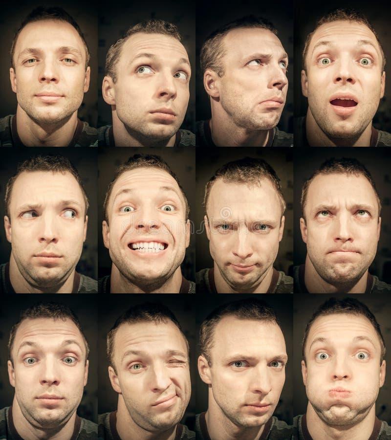 Młody człowiek, set emocjonalni portrety fotografia royalty free