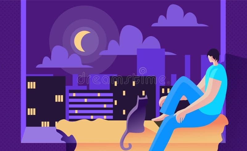 Młody Człowiek Siedzi przy nocą na okno i Patrzeje księżyc royalty ilustracja