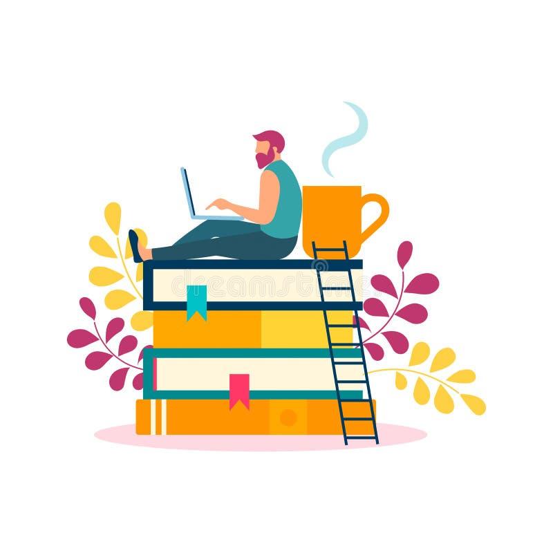 Młody człowiek studiuje, pracować, odpoczywa w domu dla książek, onl ilustracja wektor