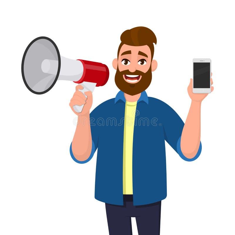 Młody człowiek trzyma i pokazuje wiszącą ozdobę głośnika lub megafon, komórka, mądrze telefon w ręce Zawiadomienie, sprzedaże, of ilustracji