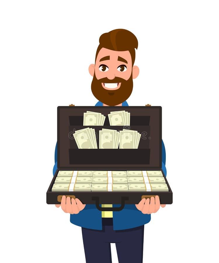 Młody człowiek trzyma teczkę pieniędzy banknoty pełno lub pokazuje ilustracji