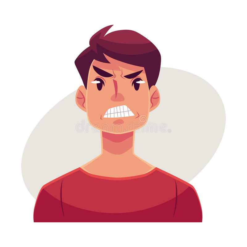 Młody człowiek twarz, gniewny wyraz twarzy ilustracji