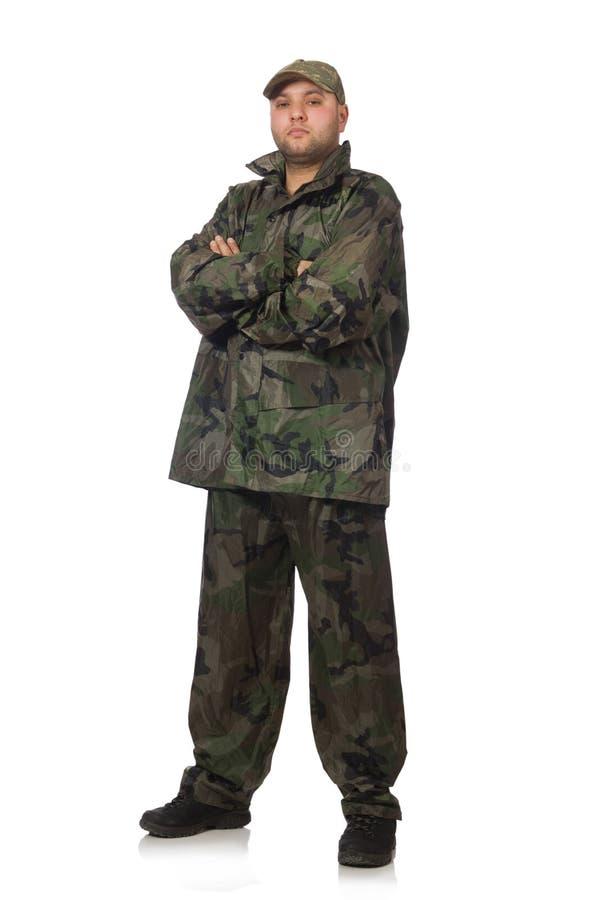 Młody człowiek w żołnierza mundurze odizolowywającym na bielu zdjęcie stock