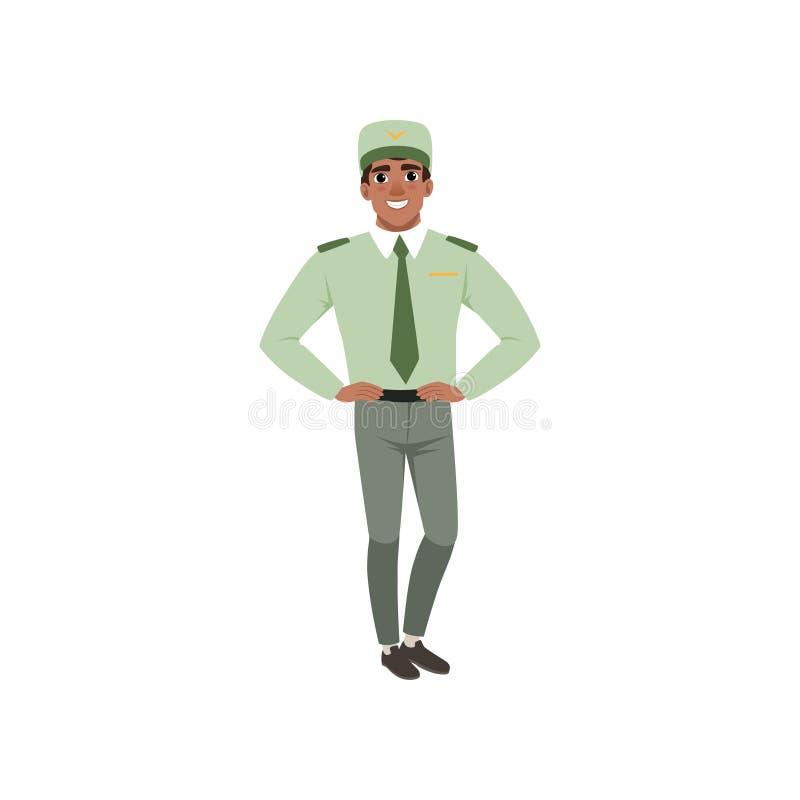 Młody człowiek w formalnym wojskowym odziewa: zielona koszula, krawat, nakrętka i szarość spodnia, Oficer siły zbrojne pozuje z r royalty ilustracja