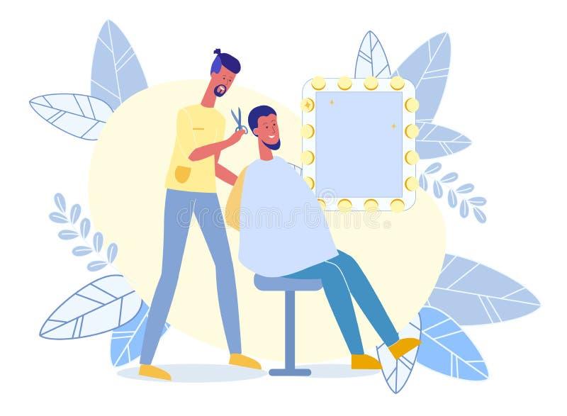 Młody Człowiek w fryzjera męskiego sklepu Płaskiej Wektorowej ilustracji ilustracja wektor