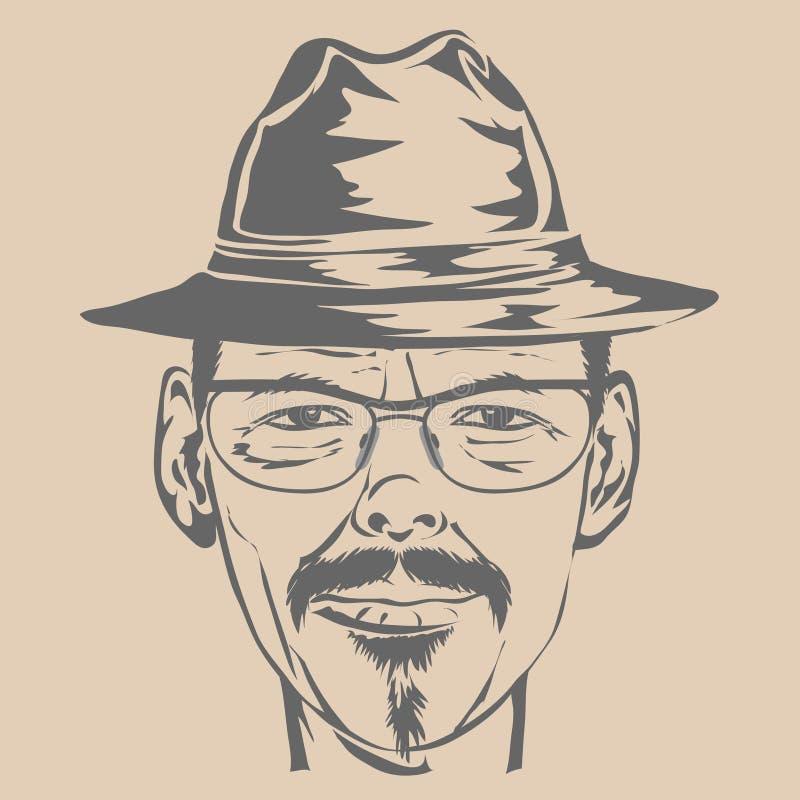 Młody człowiek w kapeluszu i szkłach. ilustracji