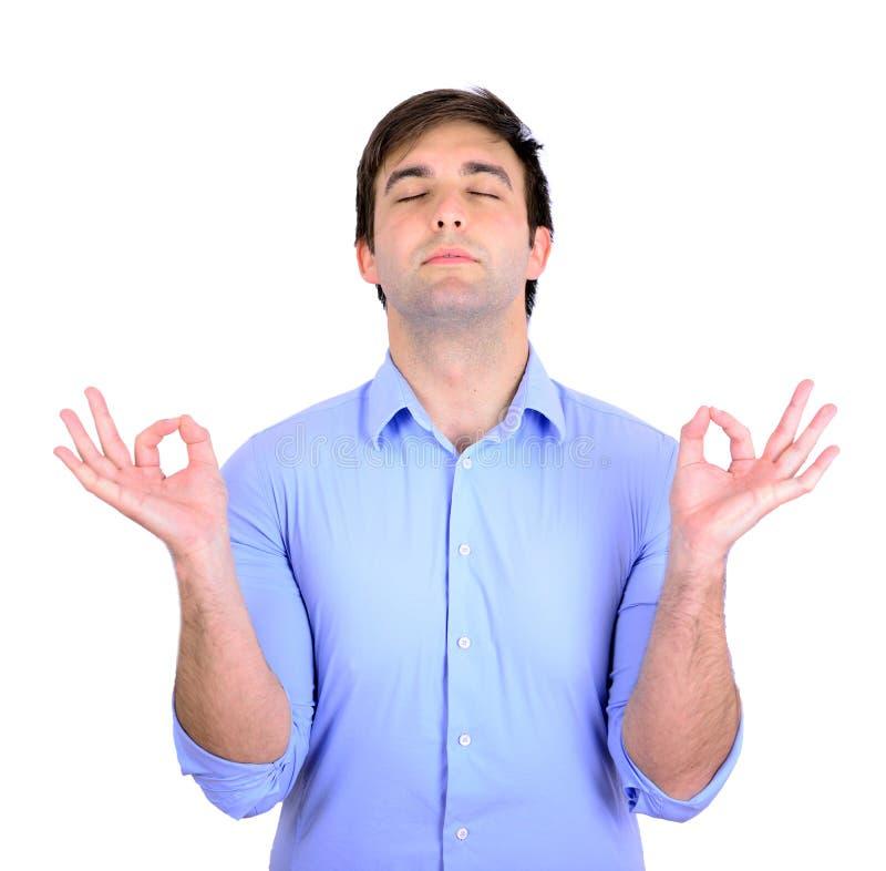 Młody człowiek w medytaci zen trybie fotografia royalty free