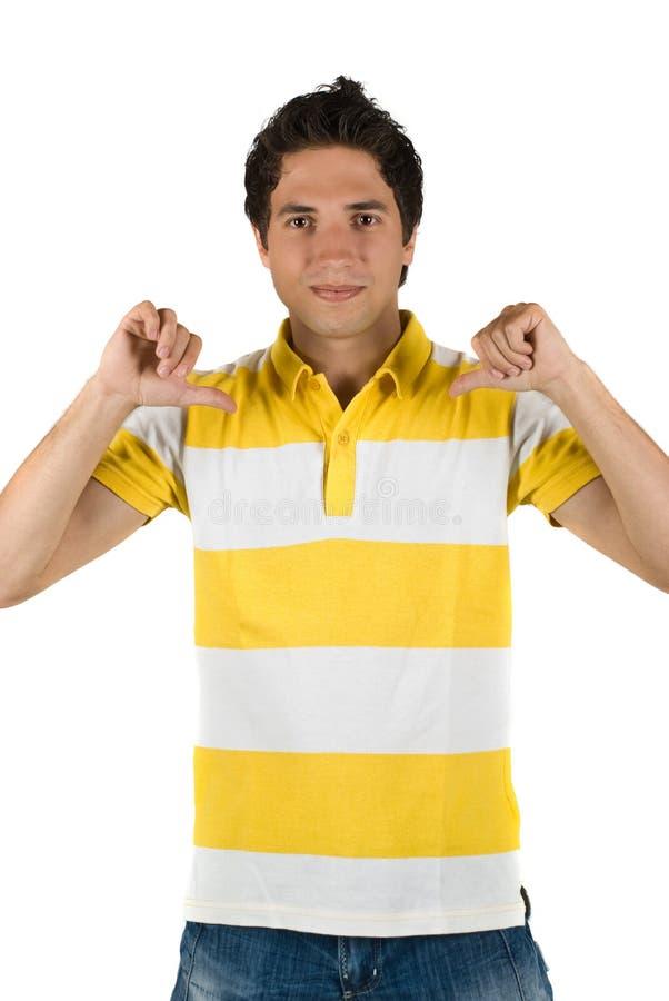 Młody człowiek w pustej koszulce fotografia royalty free