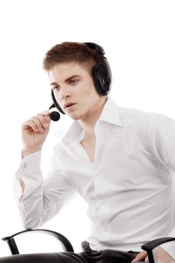 Młody Człowiek W Słuchawki Obraz Royalty Free