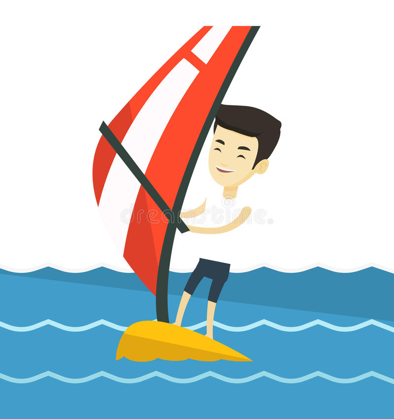 Młody człowiek windsurfing w morzu ilustracji