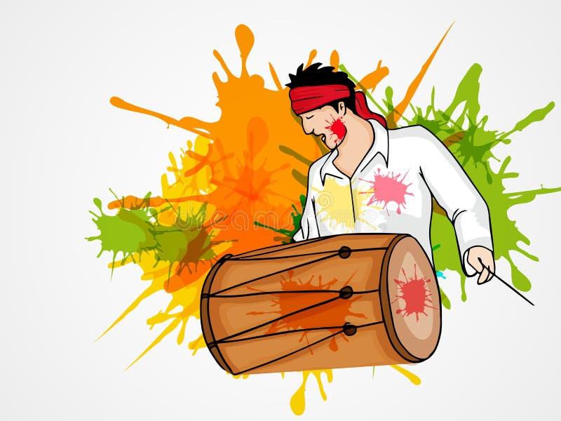 Młody człowiek z bębenem dla Szczęśliwego Holi festiwalu świętowania ilustracji