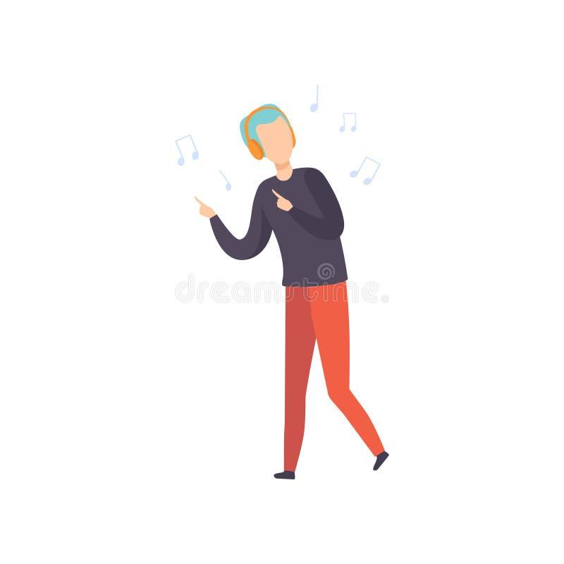 Młody człowiek z błękitną muzyką włosianym słuchającym tanem i, facet cieszy się muzykę z hełmofon wektorową ilustracją na bielu ilustracja wektor