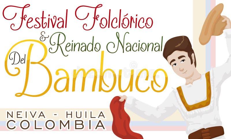 Młody Człowiek z chustką i kapeluszem dla Kolumbijskiego Bambuco festiwalu, Wektorowa ilustracja royalty ilustracja
