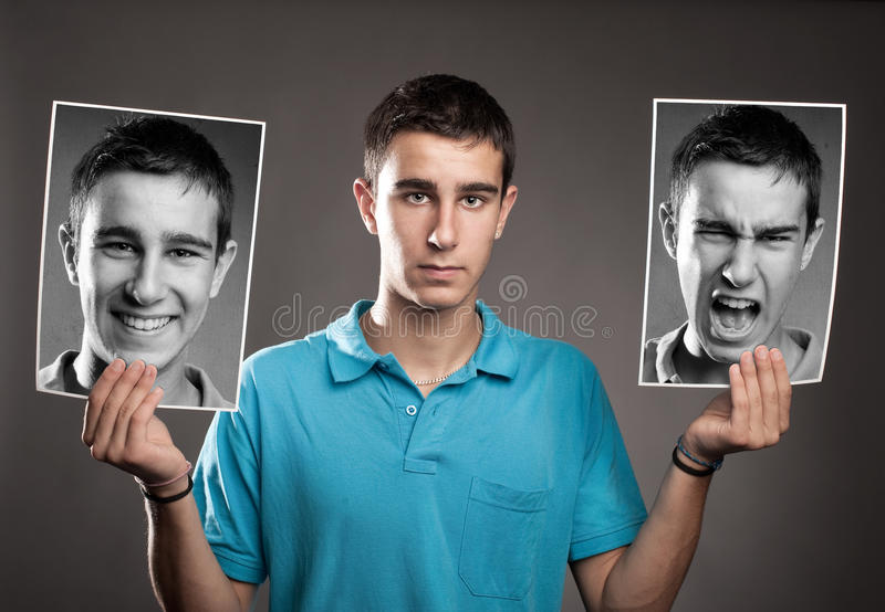 Młody człowiek z dwa twarzami fotografia royalty free
