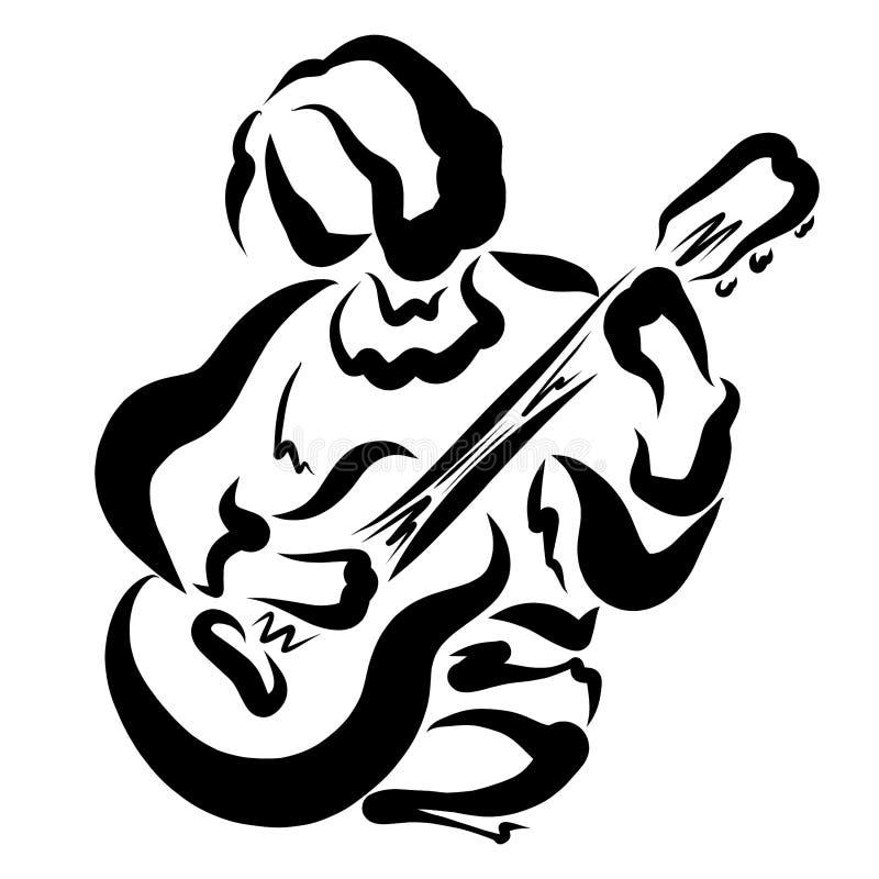 Młody człowiek z gitarą w jego ręki royalty ilustracja