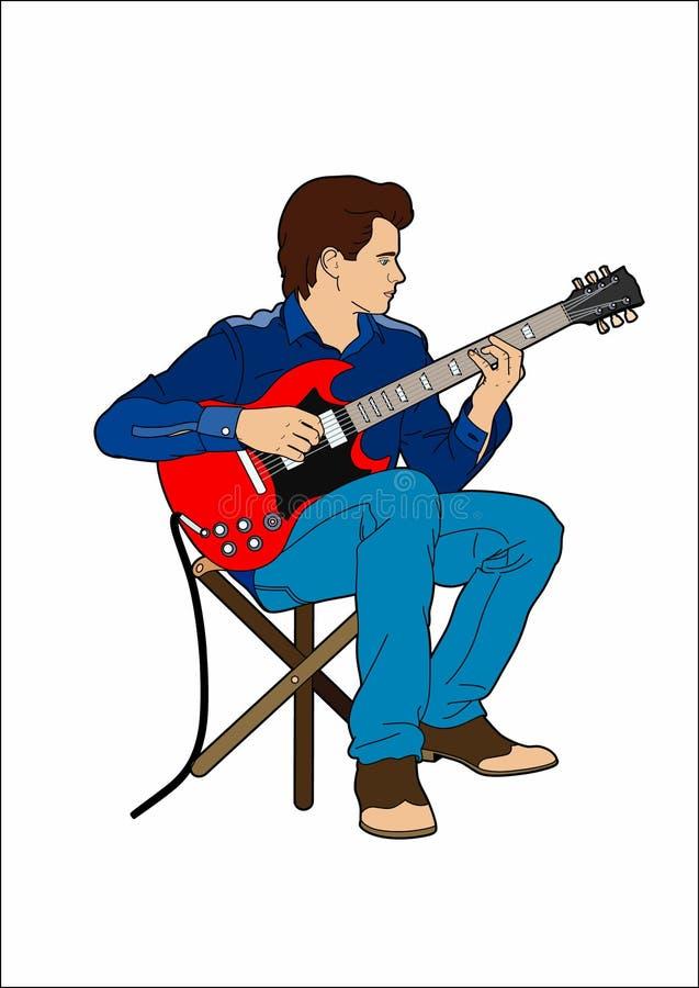 Młody człowiek z jego gitarą elektryczną ilustracja wektor