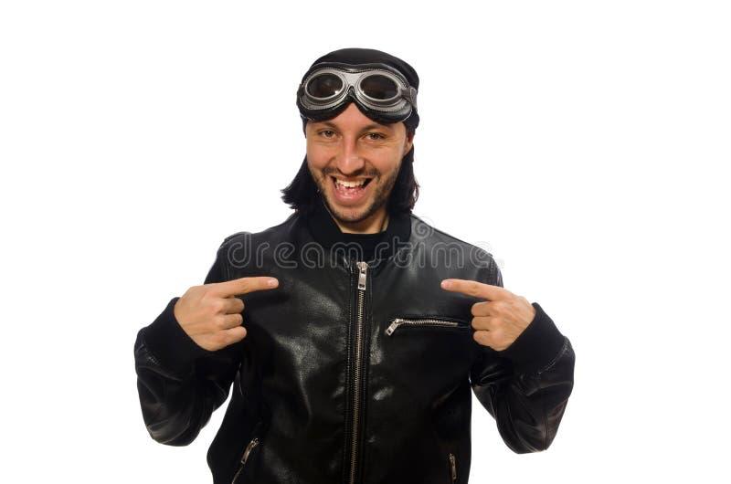 Młody człowiek z lotników szkłami na bielu obrazy royalty free