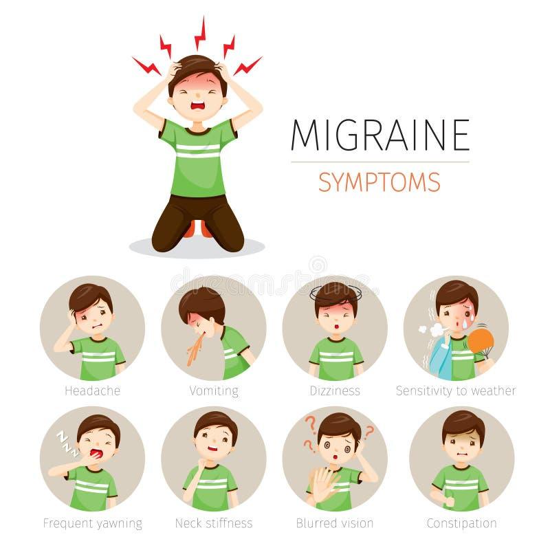 Młody Człowiek Z migrena objawów ikonami Ustawiać ilustracji