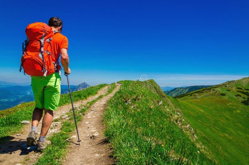 Młody człowiek z pomarańczowym plecakiem, drogą i łąkami, zdjęcie stock