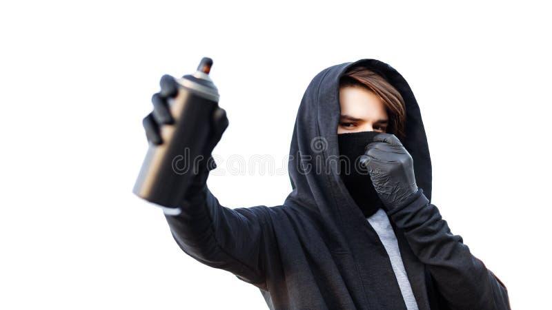 Młody człowiek z puszki kiścią w ręce Zakończenie obrazy royalty free