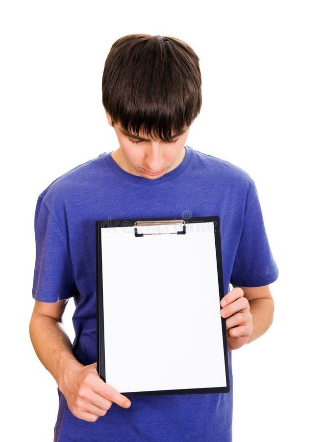 Młody człowiek z schowkiem fotografia stock