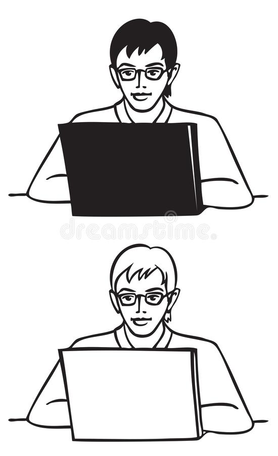 Młody człowiek z szkłami za laptopem ilustracji
