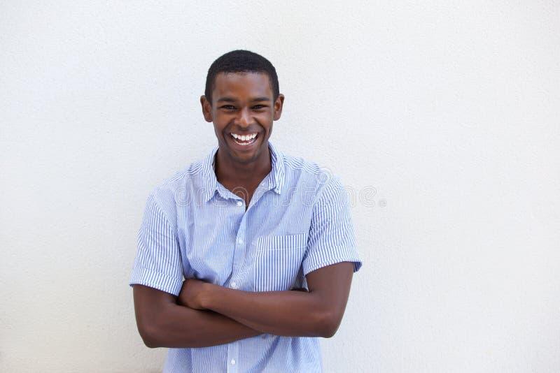 Młody czarnego faceta śmiać się zdjęcia royalty free