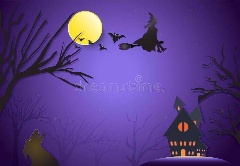 Młody czarownicy latanie na miotły i lisa sylwetce Halloween tapetuje a royalty ilustracja