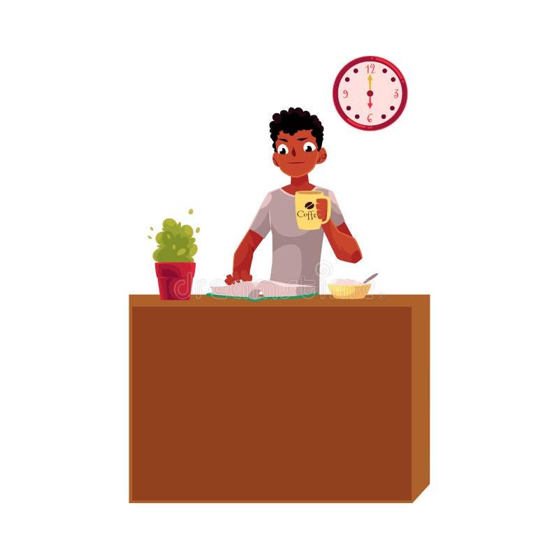 Młody czerń, amerykanina afrykańskiego pochodzenia biznesmen ma śniadanie, trzyma filiżankę ilustracji