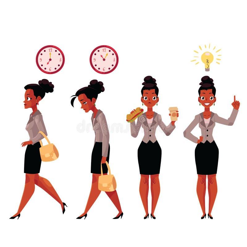 Młody czerń, amerykanina afrykańskiego pochodzenia bizneswoman w różnorodnych biznesowych sytuacjach royalty ilustracja