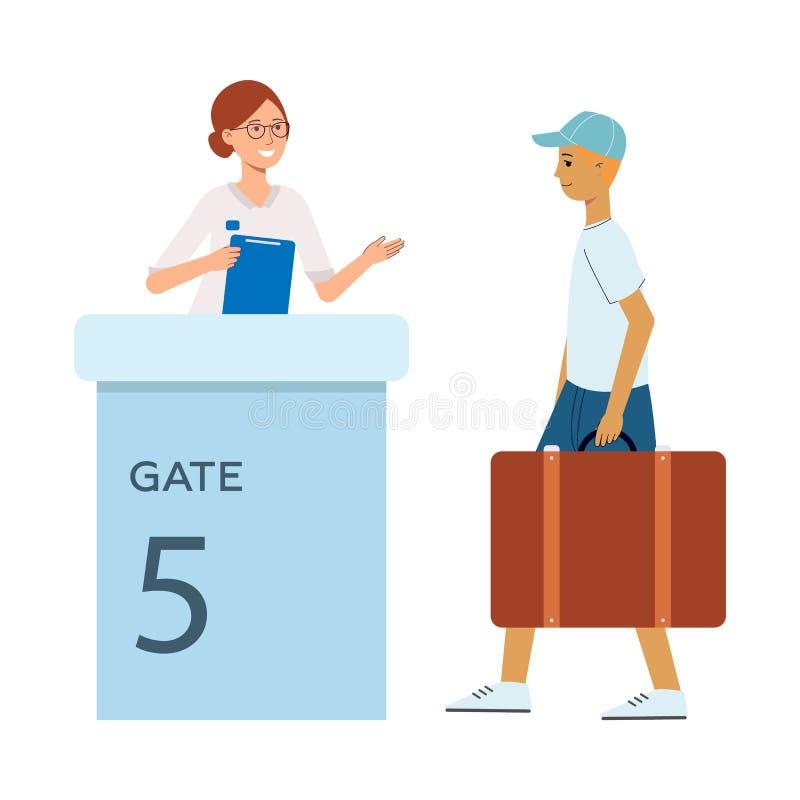 Młody czerwony z włosami turystyczny mężczyzna z walizką przechodzi brama przy lotniskiem ilustracja wektor