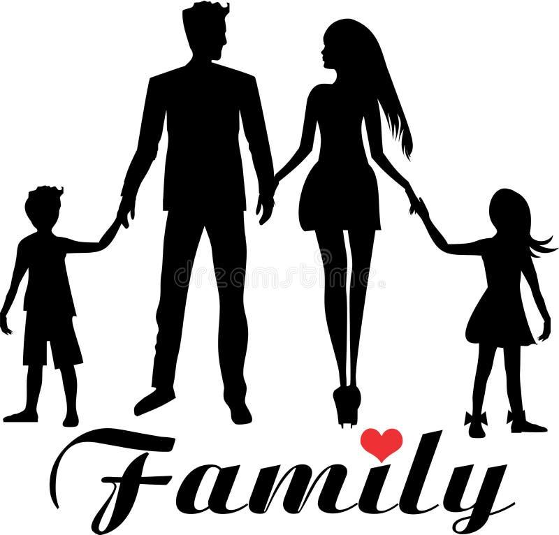 Młody dobry przyglądający rodzinny tata, mama, córka i syn, ilustracji