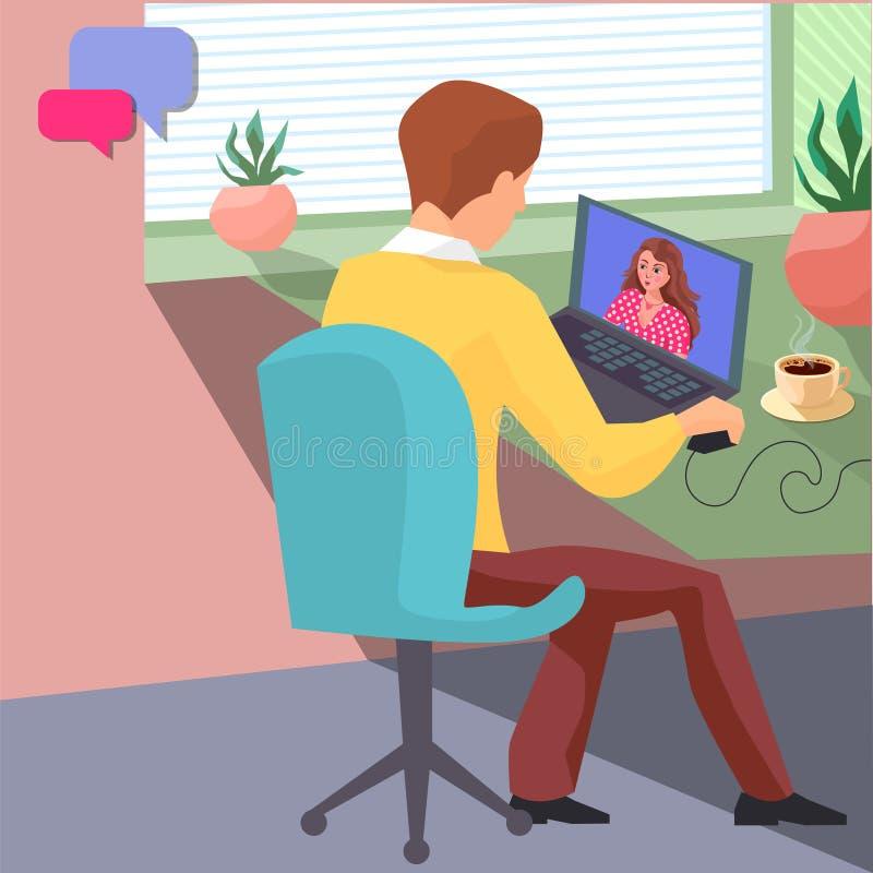 Młody facet blisko okno przy stołem z filiżanka kawy komunikuje z jego dziewczyną online Poj?cie online ilustracja wektor