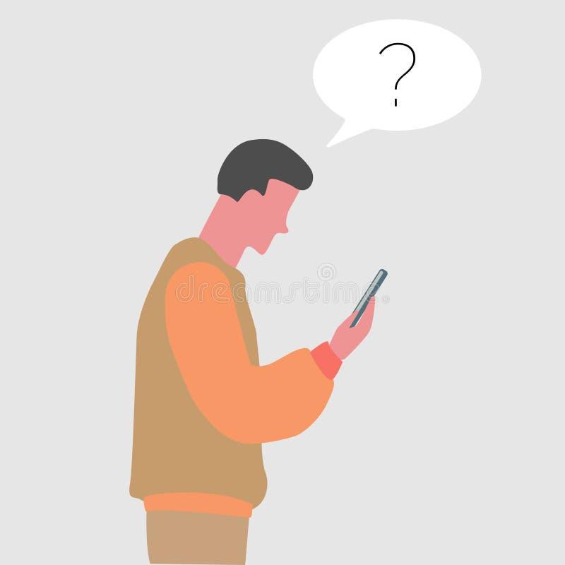 młody facet ogląda jego telefonu płaskiego projekt royalty ilustracja