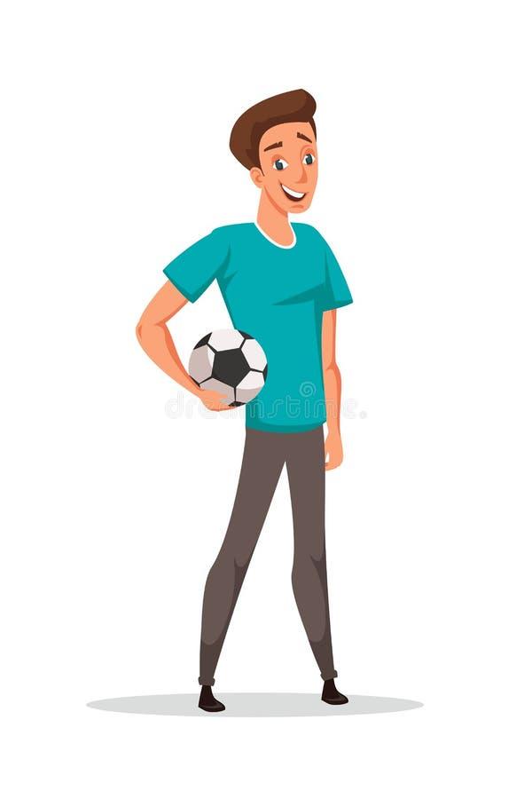 Młody facet z futbolową balową wektorową ilustracją royalty ilustracja