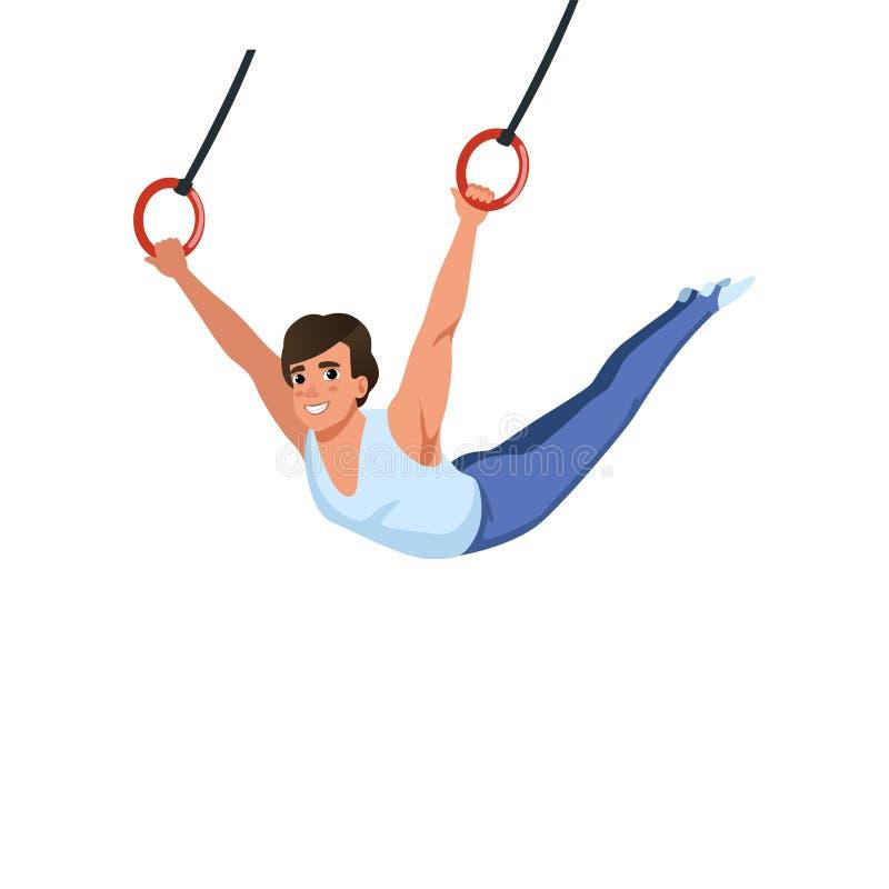 Młody faceta szkolenie na pierścionku aparacie artystyczne gimnastyki Indywidualny Olimpijski sport Kreskówka sportowiec w gimnas royalty ilustracja